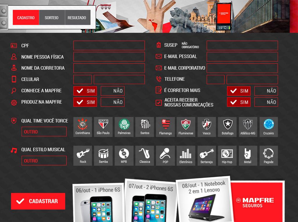 Cadastro no aplicativo Case Mapfre