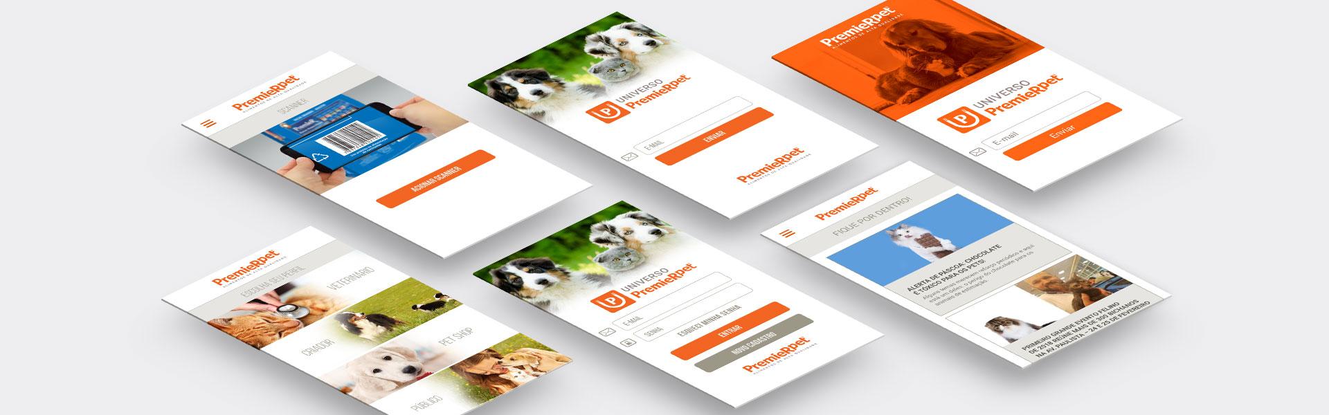 Mockup aplicativo PremieRpet