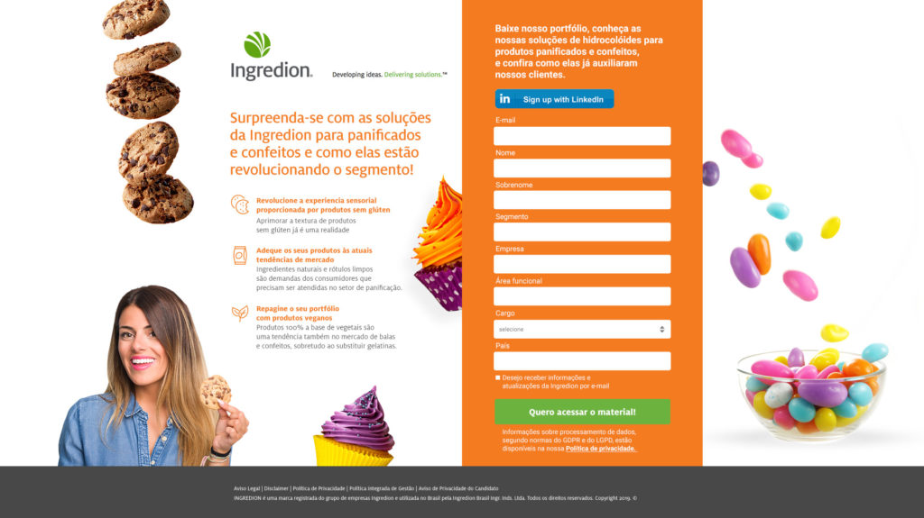 Landing pages para captação de leads Ingredion