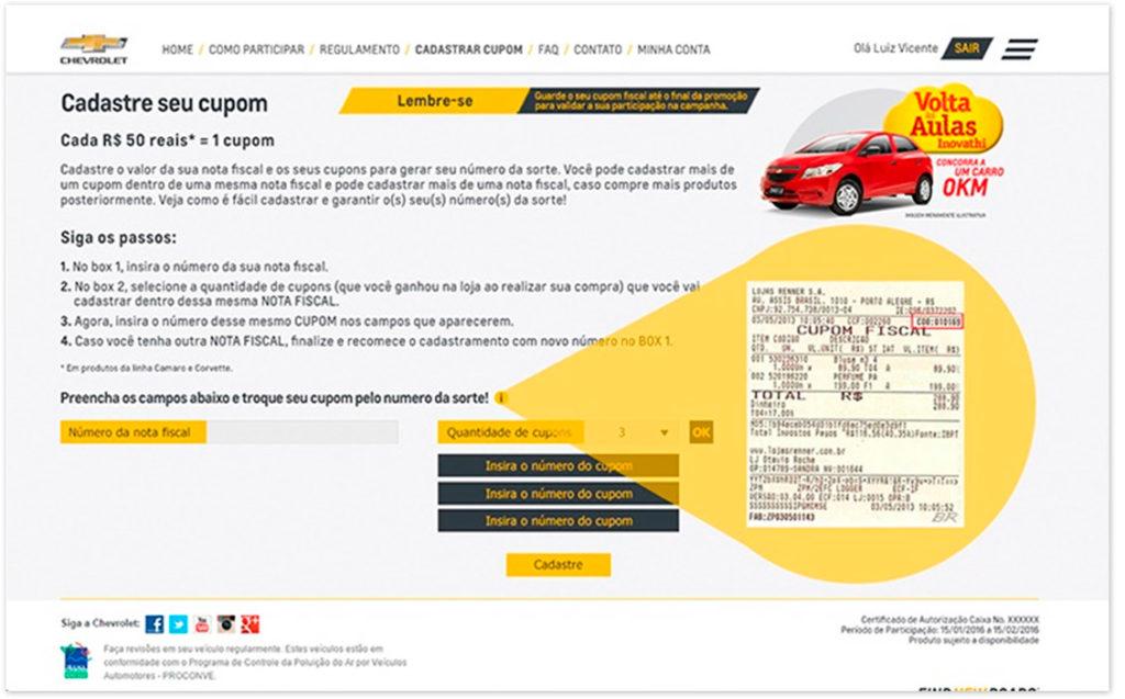 Cupom para campanha Case Chevrolet