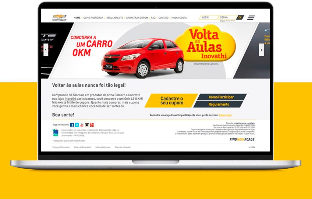 Plataforma para ação promocional Chevrolet - Mobile
