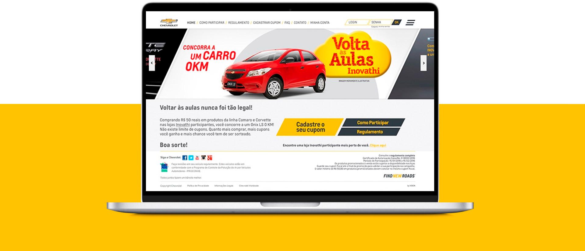 Plataforma para ação promocional Chevrolet