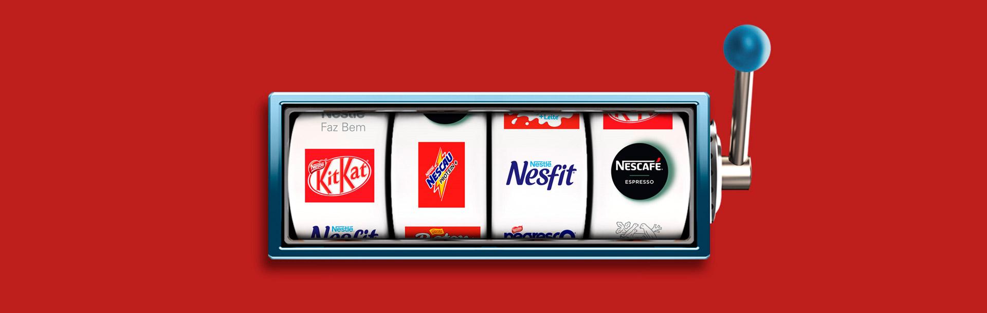 Distribuição de brindes com caça níquel Case Nestlé